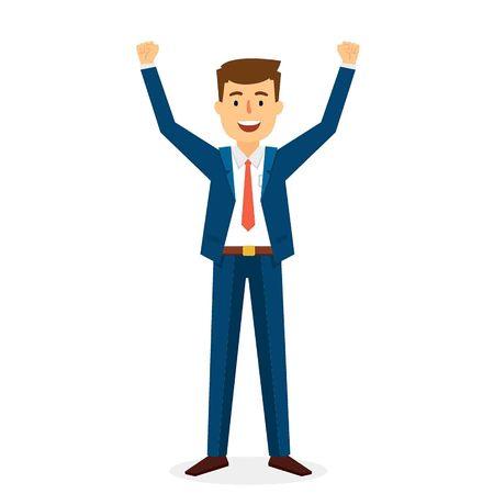 hands up: Successful Business Man Character Design. Vector Illustration Illustration