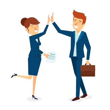 High Five Business Man and Woman Character Design. Vector Illustration