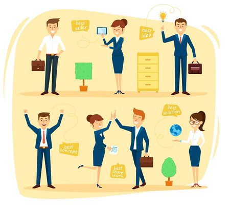 situations: Business Design Character Set in Different Situations. Vector Illustration Illustration