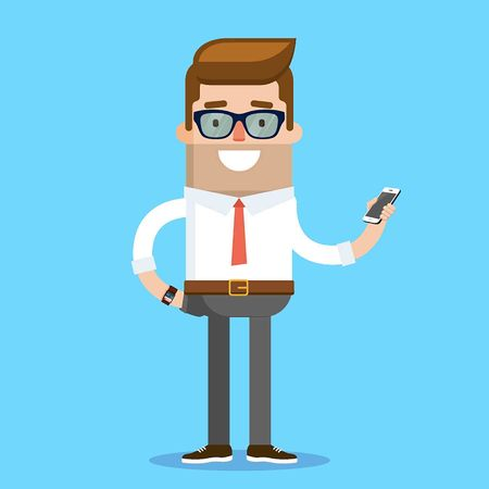 happy young man: Business Character Design Geek. Vector Illustration Illustration