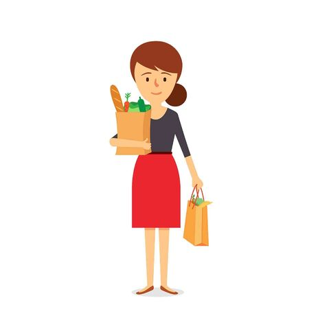Shopping Mother Character Design. Vector Illustration