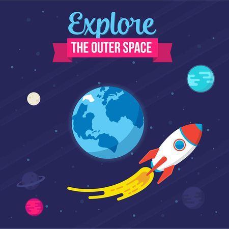 Explore The Outer Space. Vector illustration Spaceship