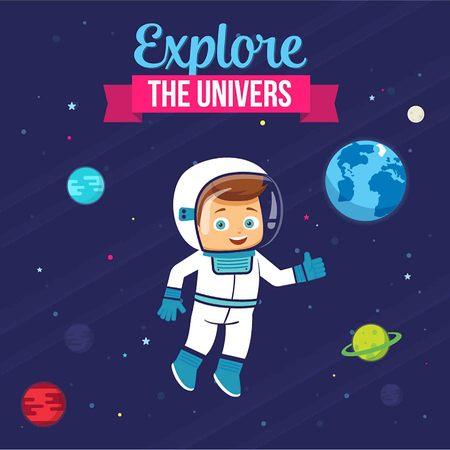 Explore The Universe. Astronaut Cute Kid Design. Vector Illustration