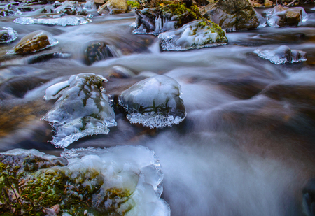 softly: Icy mountain stream flowing softly