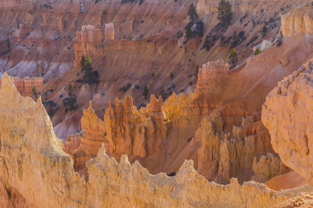 hoodoo: Bryce Canyon Hoodoo formations with breathtaking colors and patterns. Bryce Canyon National Park Utah Stock Photo