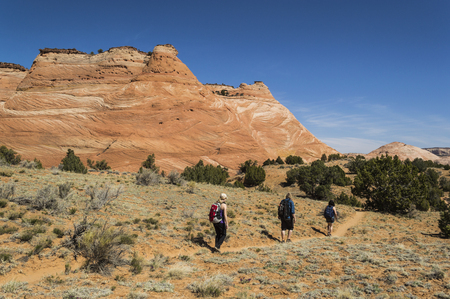escalante: 3 young adult hikers on a trail among the sandstone cliffs  in Grand Staircase Escalante National Monument, Utah, USA