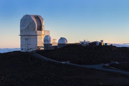 astronomic: Haleakala Observatory Maui Hawaii USA at Sunset Stock Photo