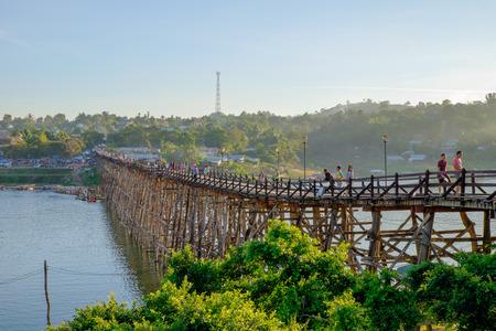 sangkhla buri: wooden Mon Bridge, Sangkhla Buri,Kanchanaburi, Thailand