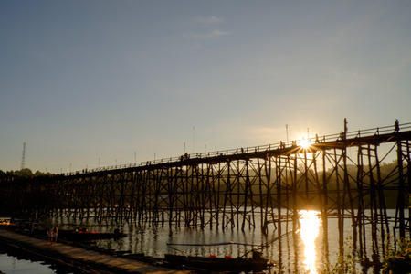 sangkhla buri: Wooden Mon Bridge during sunset, Sangkhla Buri,Kanchanaburi, Thailand