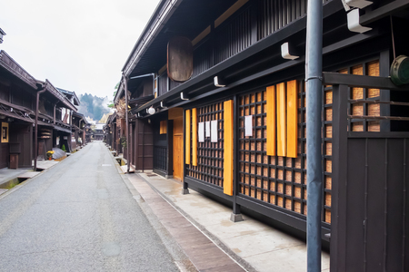 the old and authentic traditional Japanese village at Takayamas old town in Japan 写真素材