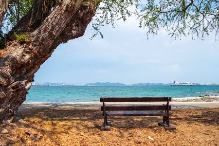 The chair sat down in the shade of tree to rest and see the sea ahead