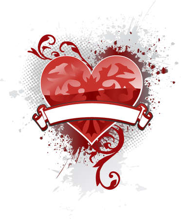 Single ornate heart with a banner to add your text and light gray ink splat background