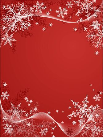 vector snowflake background on red Фото со стока