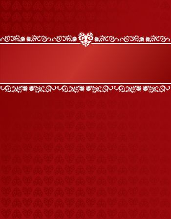Heart patterned background and header stripe with decor Фото со стока