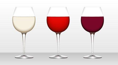 Three glasses of wine. White, blush, burgundy.