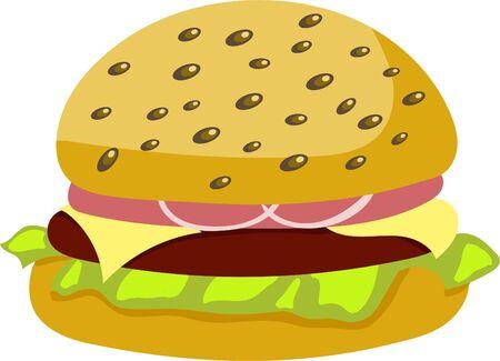Illustration.Hamburger. Fast food. Ilustração