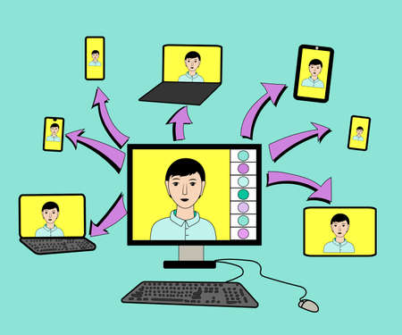 Work and study at home, remotely via the Internet via video. Ability to communicate via mobile devices, computers, tablets, phones. Ability to stay in touch during quarantine. Vector illustration. Ilustração