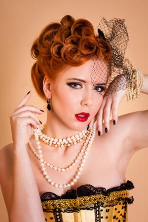 corset: Beautiful cabaret woman in corset Stock Photo