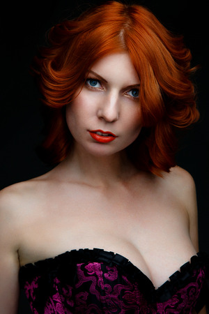 short gloves: Pretty red-haired woman in black lingerie