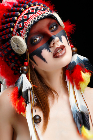 face to face: Beautiful young native American Indian woman