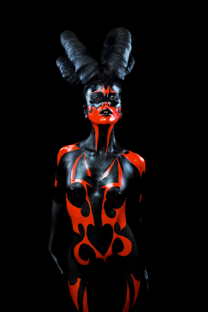 Beautiful demon woman with horns 스톡 콘텐츠