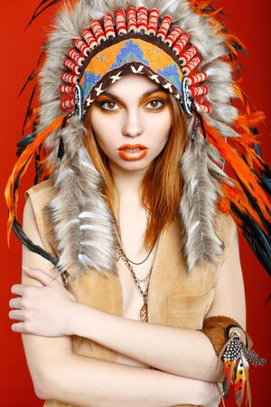 sioux: Fashion young lady in the Indian roach
