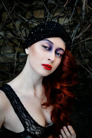 redheaded: Beautiful redheaded woman face with bright make up