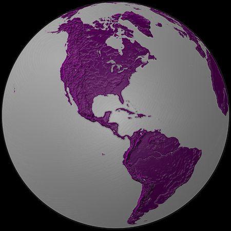 southamerica: world - plasticized purple & grey globe - America