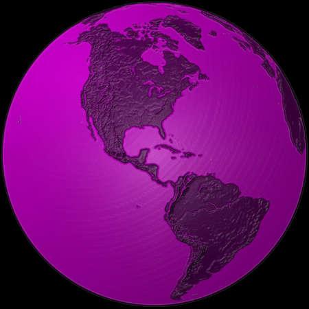 southamerica: world - plasticized purple globe - America