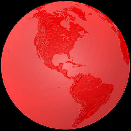 southamerica: world - plasticized red globe - America Stock Photo