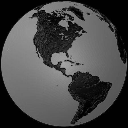 world - plasticized black & grey globe - America