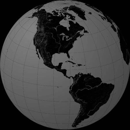 grey sky: black & grey globe - america Stock Photo