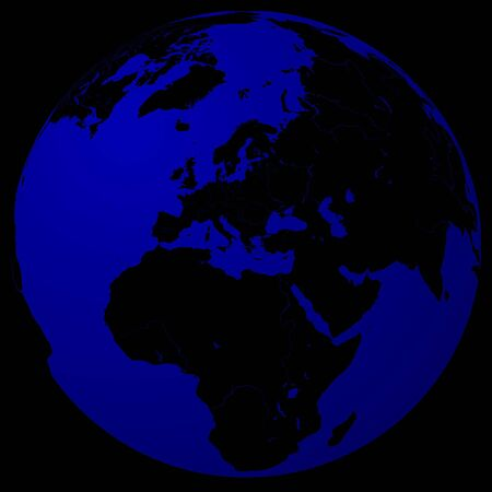 southamerica: World - Black on blue globe Stock Photo