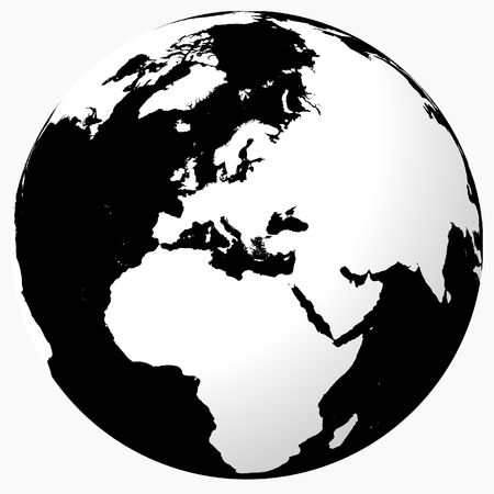 World - White on black globe