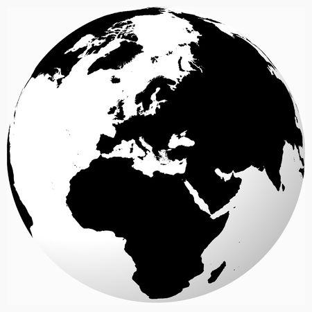 World - Black on white globe Stock Photo - 653525