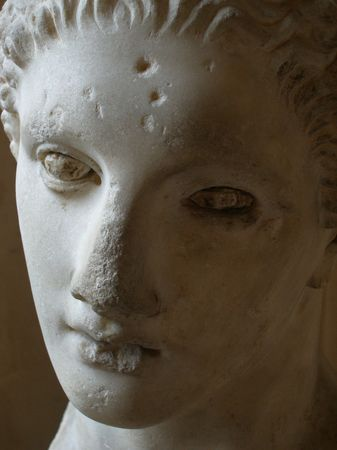 escultura romana: Escultura romana antigua - la cara de cerca Foto de archivo