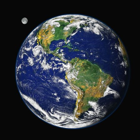 Earth and moon (in the background) from outer space