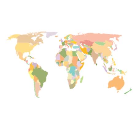 oceania: World Map - Colored - Africa, America, Asia, Europe & Oceania