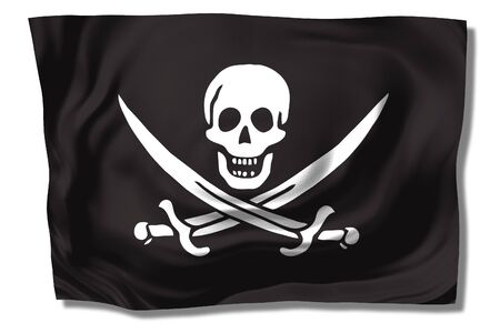 pirates flag - skull & swords on black background - floating free flag Stock Photo