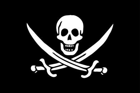 pirates flag - skull & swords on black background - simple flag Stock Photo