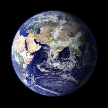 Earth from outer space - Asia & Africa Stock Photo