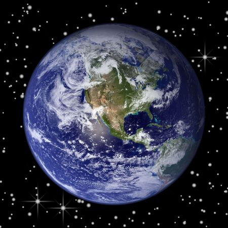 Earth from outer space and stars on the background photo