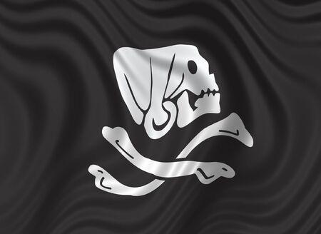 Pirates' flag - skull & bones on black background - floating flag Stock Photo - 797764