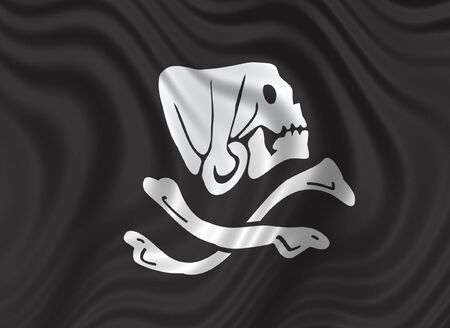 Pirates' flag - skull & bones on black background - floating flag Stock Photo - 797764