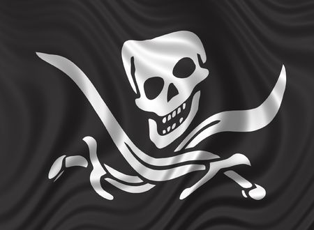 Pirates flag - skull & swords on black background - floating flag photo