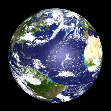 Earth from outer space - Atlantic Ocean - Africa, America & Europe - computer generated illustration Stock Photo