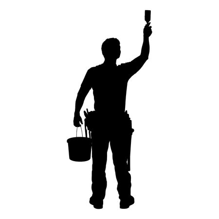 man in air: MAN AT WORK - SILHOUETTE - Dark image outlined against a white background