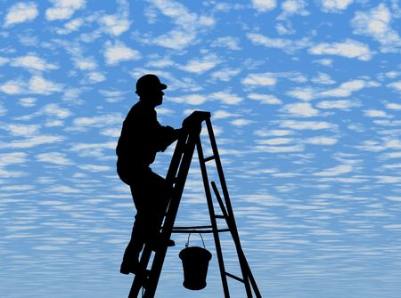 skyblue: MAN AT WORK - SILHOUETTE - Dark image outlined against a fluffy clouds background