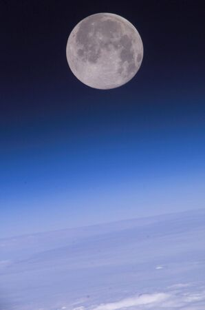 Earth and moon from outer space Stock Photo