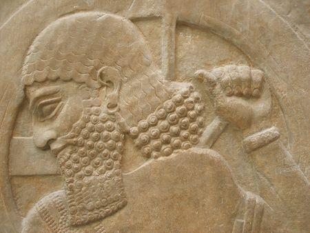 Ancient face - Ancient Assyrian Sculpture -  face close up